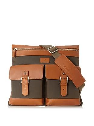 Trafalgar Men's Ballistic Leather Slim Messenger (Olive)