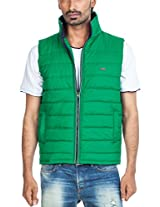 Zovi Cotton Polyester Spring Green Sleeveless Jacket (10460901601_X-Large)