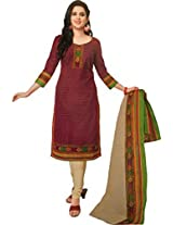 Shree Ganesh Women's Cotton Unstitched Dress Material (DSG312_Maroon_Free Size)