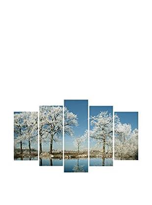 LO+DEMODA Leinwandbild 5 tlg. Set White Trees