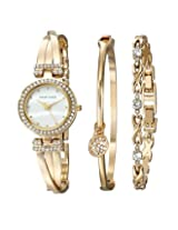 Anne Klein Womens AK/1868GBST Swarovski Crystal Accented Gold-Tone Bangle Watch and Bracelet Set