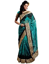 Bharat Plaza Teal Green Net Saree