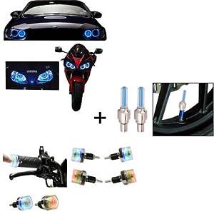 Multipurpose Accessory Combo of Wheel light with Motion Sensor & 2 Angel Eye & LED Light for Bike Handle Grip