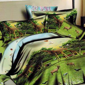 Enfin 3D Printed Double Bed Sheet With 2 Pillow Covers - Multicolor