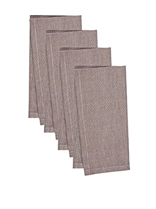KAF Home Set of 4 Chambray Napkins, Brown