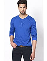 Blue Solid Full Sleeve Henley T-Shirt