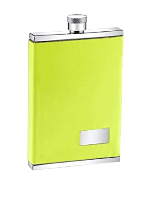 Wilouby 3 oz. Slimline Flask with Neon Yellow Italian Genuine Leather