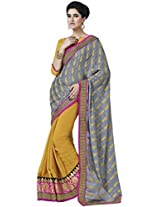 Indian Women Graceful Jacquard Grey Saree with Blouse
