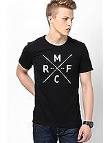 Black Soccer Round Neck T-Shirt