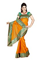 De Marca Orange Chiffon M244 Saree
