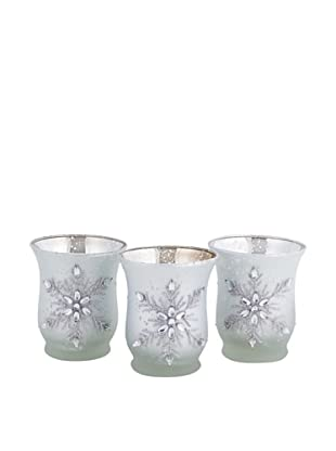 Melrose Set of 3 Jeweled Snowflake Candleholders