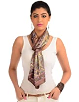 Cocoa brown printed readymade stole