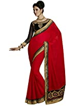 Indian Women Stunning Georgette Red Saree with Blouse