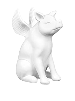 Ceramic Pig With Wings, White