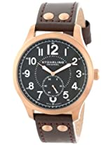 "Stuhrling Original Men's 486.3345K1 ""Leisure Eagle Hawkeye"" 16k Rose Gold-Layered Watch with Brown Leather Band"