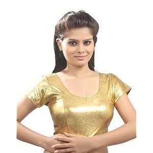 Blouse - Satin Gold lycra Stretchable Blouse. Size L.