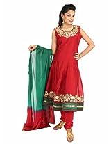 Fashiontra Women's Cotton Anarkali Suit (MK7019_Maroon_Large)