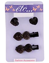 HK etc 2 Heart Shape Black Diamond Studded Clips With Matching Earings
