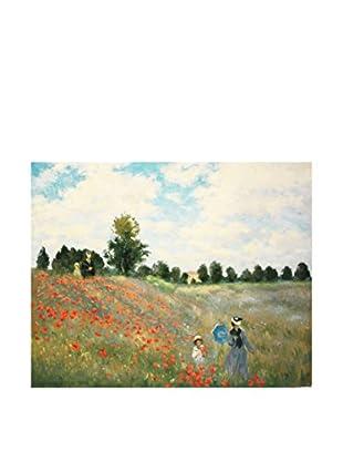 Legendarte Leinwandbild Campo Di Papaveri di Claude Monet Multicolore