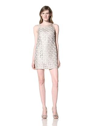 Alexia Admor Women's Metallic Overlay Shimmer Dress (Champagne/Beige)