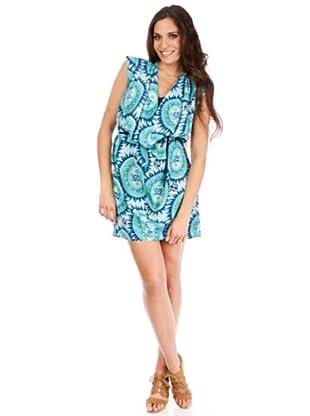 Cortefiel Vestido Geométrico (Verde / Azul)