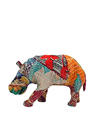 Vintage Sari Fabric Paper Mache Hippo II, Multi