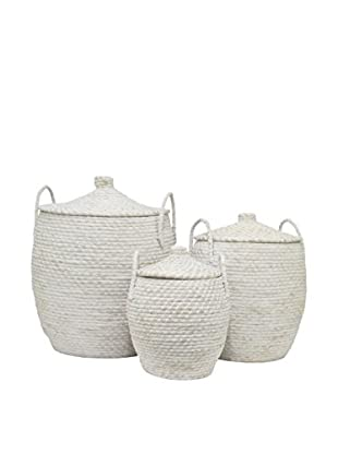 Three Hands Set of 3 Woven Baskets, White