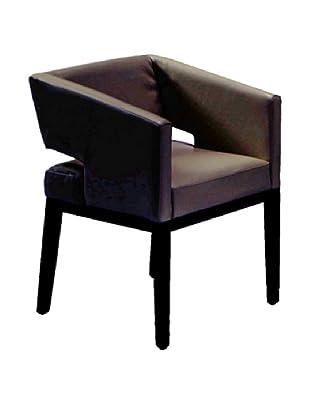 Armen Living Leather Arm Chair, Black