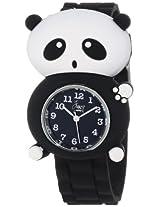 """Frenzy Kids' FR2001 """"Panda Critter Face"""" Black Band Children's Watch"""