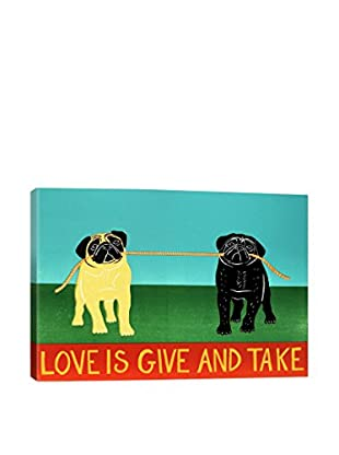 Stephen Huneck Love Is Give And Take Gallery Wrapped Canvas Print