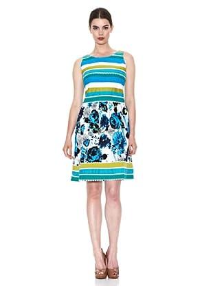 Niza Moda Vestido Rayas y Flores (Azul)