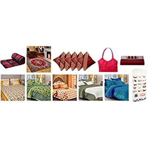 5 Cotton Bedsheets with 10 Pillow Covers 1 Carpet 1 AC Blanket 5 Cushion Covers 1 Ladies Purse 1 Clutch 1 Jewellery Organiser