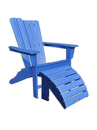 Panama Jack 2-Piece Adirondack & Ottoman Set, Poly Resin Blue