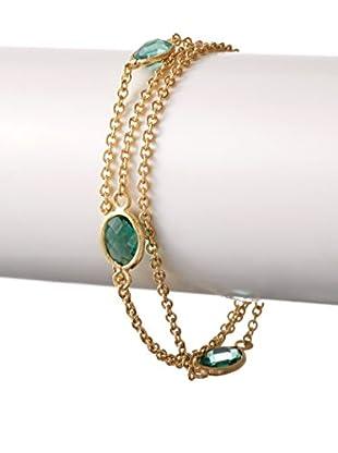 Rivka Friedman 18K Gold Clad Capri Crystal 3 Row Petite Bracelet