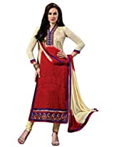Vibes Women Georgette Salwar Suit Dress Material (V182-5601 _Red _Free Size)