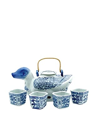 Dynasty Gallery Antique Replica Duck Teapot and Cup Set (Blue/White)