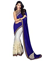 Roop Kashish Georgette Satin Chiffon Saree With Border Saree(10813_Blue And White)
