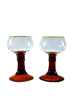 Pair of Roemer Style Goblets, Clear/Gold