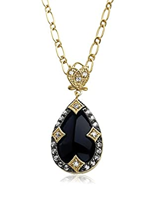 Riccova Harlequin Faceted Black Glass Drop Necklace with CZs