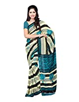 Ambaji Beige & Turquoise Coloured Renial Printed Saree