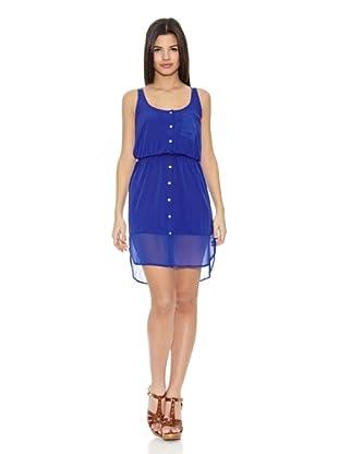 Springfield Vestido Long Dress Transparency (Azul)