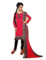 FadAttire Unstitched Dress Material made of Premium Georgette Material-Pink-ACMP03