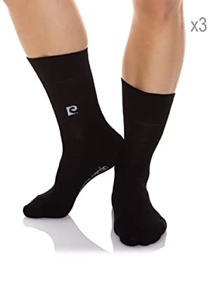 Pierre Cardin Pack x 3 Pares Calcetines Algodón-Elastán Anti presión (Negro)