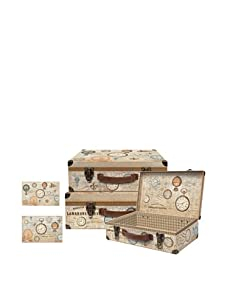 Punch Studio Set of 3 Nesting Valet Cases with Metal Hinges (Antique Curiosities)