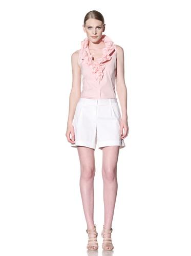 Lafayette 148 New York Women's Sleeveless Ruffle Neck Blouse (Pink)