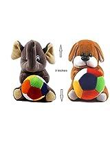 Rushi Enterprise Combo Dog and Elephant Cute Teddy Soft Toy kids birthday (19 cm)