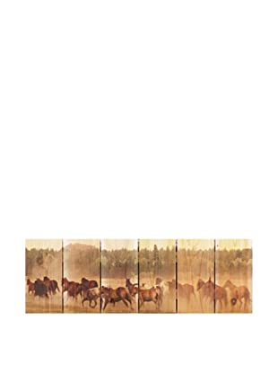 Wild Horses Running on Western Red Cedar