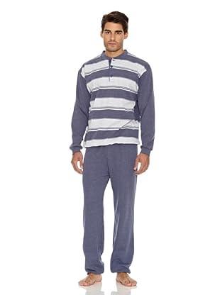 Basket Pijama Camiseta y Pantalón Rayas (Azul)