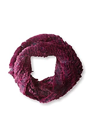 Jocelyn Women's Snowtop Sheared Rabbit Knitted  Cowl, Navy/Berry