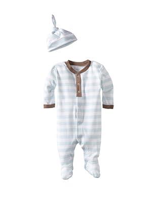 Coccoli Baby Cotton Footie with Cap (Blue Stripe)